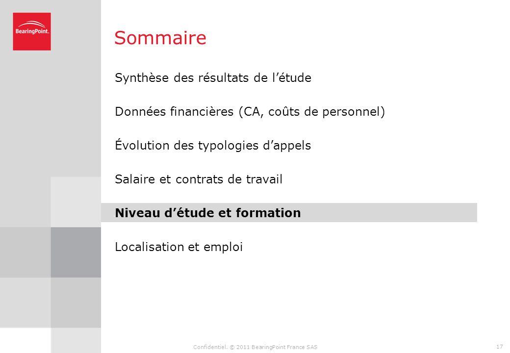 Confidentiel. © 2011 BearingPoint France SAS 16 Lintérim et le CDD restent diminuent légèrement, ils représentent 18% des contrats du secteur (contre