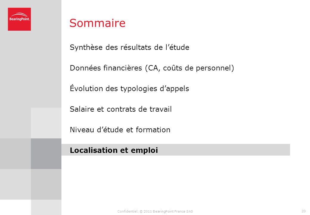 Confidentiel. © 2011 BearingPoint France SAS 19 Formation Le nombre dheures de formation reste stable Nombre moyen d'heures de formation en 2010 (par