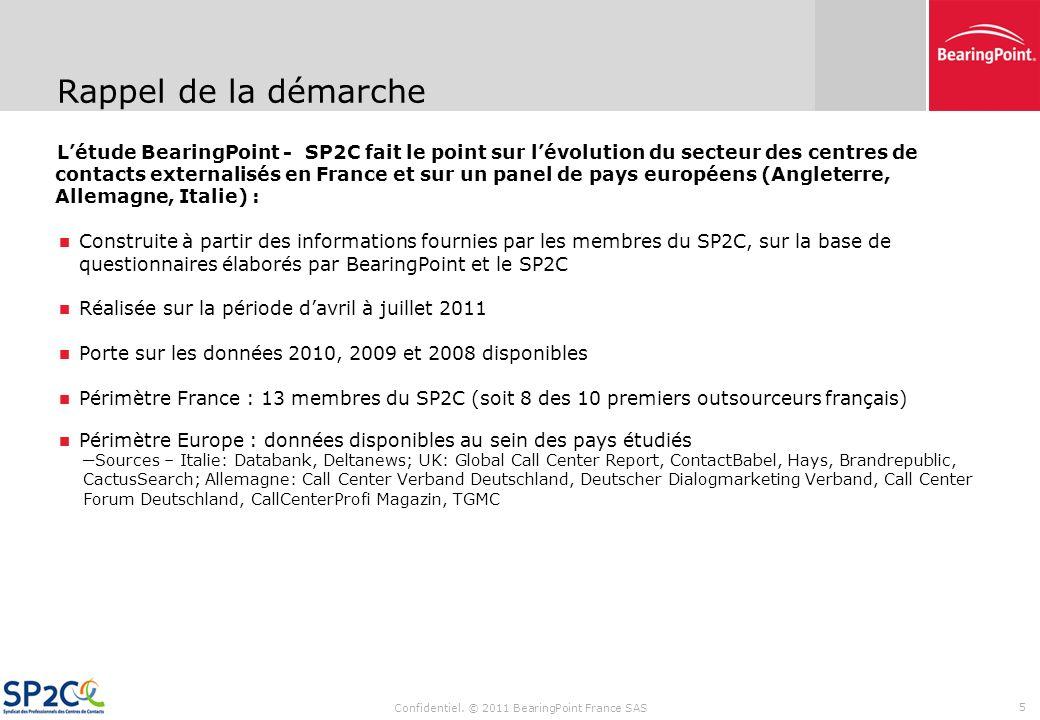 Sommaire Confidentiel. © 2011 BearingPoint France SAS 4 Synthèse des résultats de létude Données financières (CA, coûts de personnel) Évolution des ty