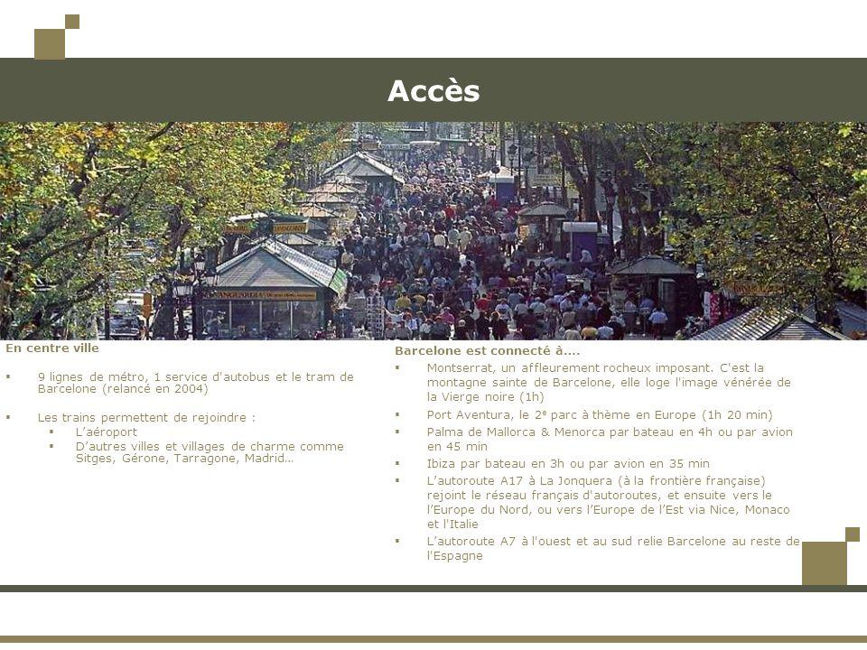 Lieux de réunion à Barcelone Les plus importantes salles de réception Centre de conférences de Barcelone (5 600 m²) Montjuïc (121 654 m²) Gran Via (147 239 m²) CCIB – Centre de Convention - (100 000 m²) Palais des Congrès de Catalogne (2 027 personnes) Stage olympique (33 646 m²) Hôtel Princesa Sofia (500 chambres & 26 salles de réception pouvant accueillir jusquà 1 000 personnes) Lieux prestigieux situés à Barcelone La Pedrera (250 personnes en cocktail) Théâtre du Liceu (2 000 personnes en cocktail) MACBA –Musée dArt Contemporain- (700 personnes en cocktail) Parc Güell (600 personnes en cocktail) Maison Batlló (2 000 m² de salons modernes) Lieux prestigieux dans les environs de Barcelone Bell Recó, un luxueux manoir (600 personnes) Bodegas Torres, caves à vins (200 personnes) Caves Codorniu (1 000 personnes) Can Magí (1 500 personnes)