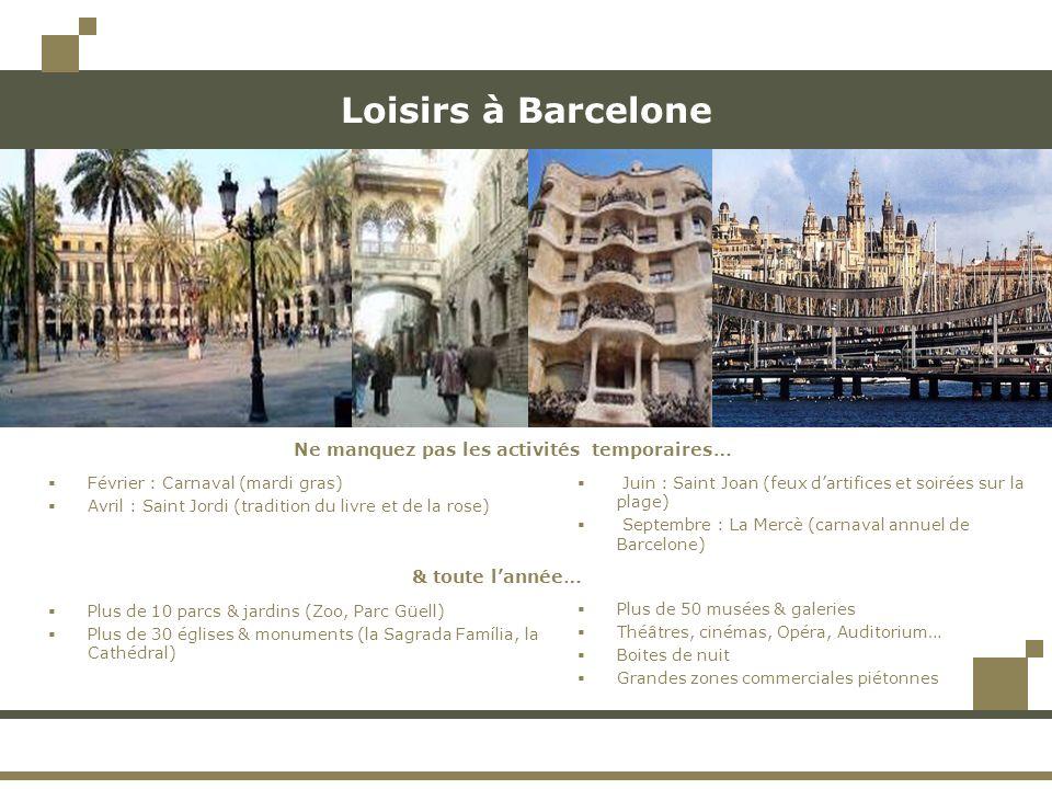 Loisirs à Barcelone Plus de 50 musées & galeries Théâtres, cinémas, Opéra, Auditorium… Boites de nuit Grandes zones commerciales piétonnes Février : C