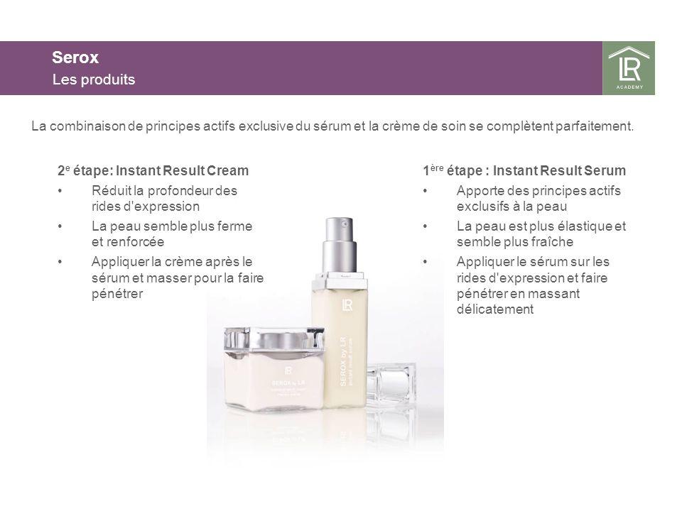 Serox Les produits 1 ère étape : Instant Result Serum Apporte des principes actifs exclusifs à la peau La peau est plus élastique et semble plus fraîc