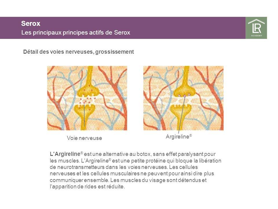 Serox Les principaux principes actifs de Serox L'Argireline ® est une alternative au botox, sans effet paralysant pour les muscles. L'Argireline ® est
