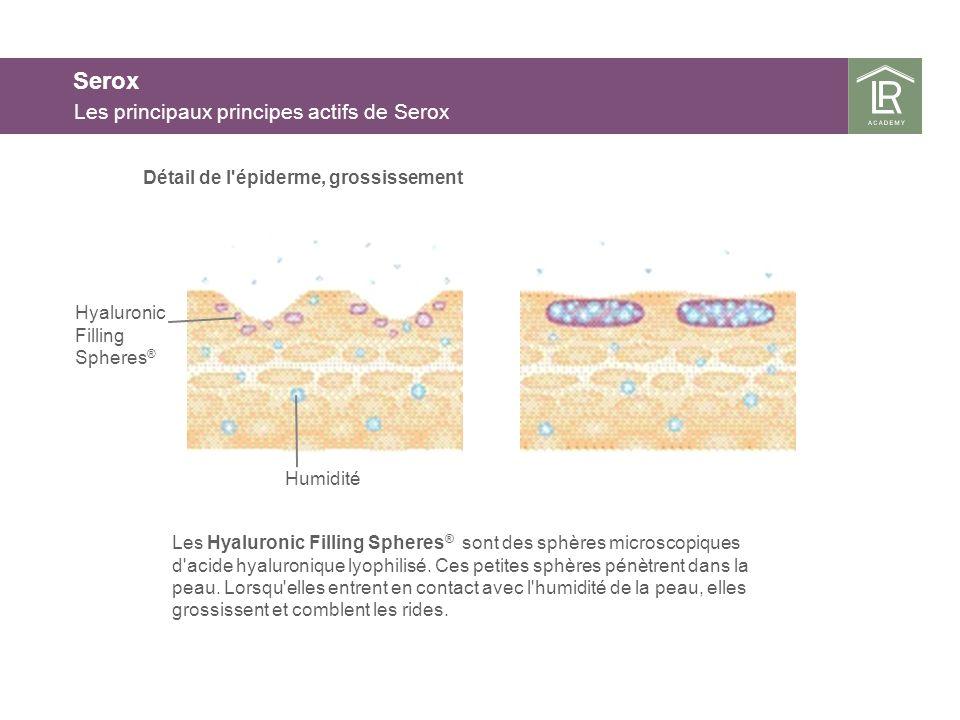 Serox Les principaux principes actifs de Serox Détail de l'épiderme, grossissement Les Hyaluronic Filling Spheres ® sont des sphères microscopiques d'