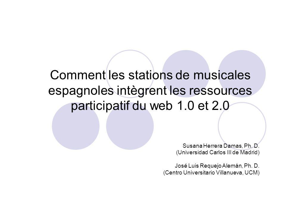 Comment les stations de musicales espagnoles intègrent les ressources participatif du web 1.0 et 2.0 Susana Herrera Damas, Ph. D. (Universidad Carlos