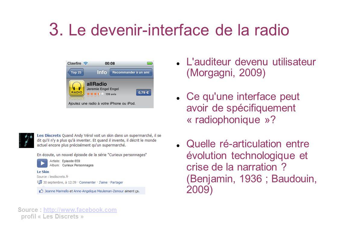 3. Le devenir-interface de la radio L'auditeur devenu utilisateur (Morgagni, 2009) Ce qu'une interface peut avoir de spécifiquement « radiophonique »?