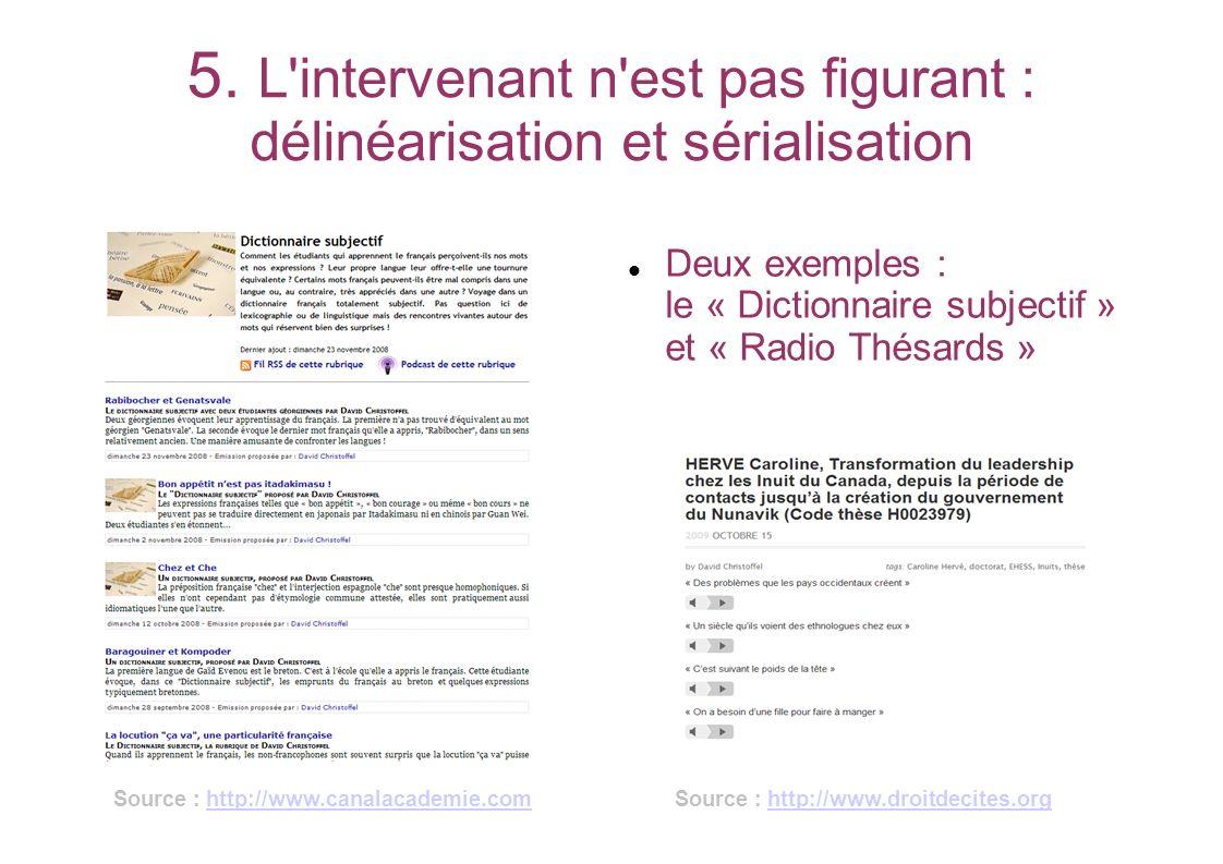 5. L'intervenant n'est pas figurant : délinéarisation et sérialisation Deux exemples : le « Dictionnaire subjectif » et « Radio Thésards » Source : ht