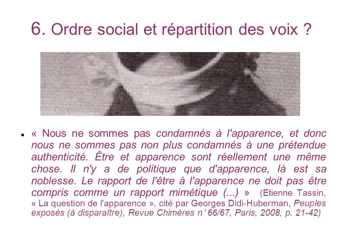 6. Ordre social et répartition des voix ? « Nous ne sommes pas condamnés à l'apparence, et donc nous ne sommes pas non plus condamnés à une prétendue