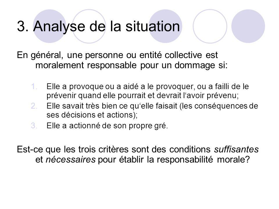3. Analyse de la situation En général, une personne ou entité collective est moralement responsable pour un dommage si: 1.Elle a provoque ou a aid é a