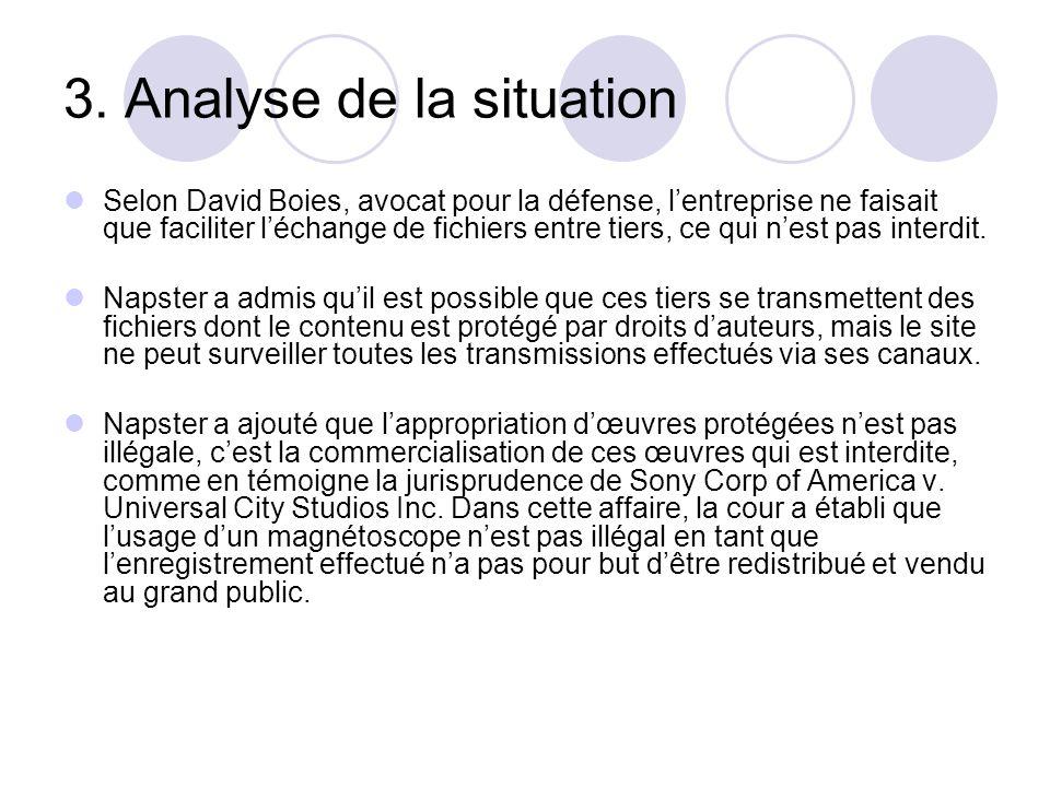 3. Analyse de la situation Selon David Boies, avocat pour la défense, lentreprise ne faisait que faciliter léchange de fichiers entre tiers, ce qui ne
