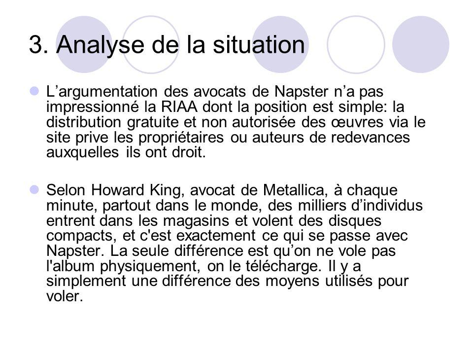 3. Analyse de la situation Largumentation des avocats de Napster na pas impressionné la RIAA dont la position est simple: la distribution gratuite et