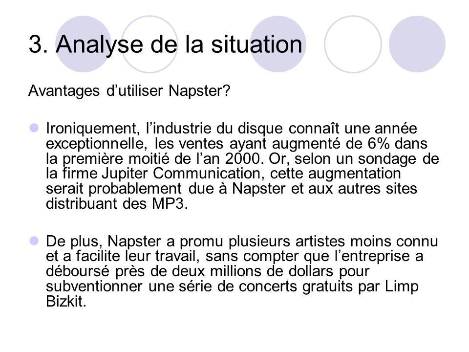 3. Analyse de la situation Avantages dutiliser Napster? Ironiquement, lindustrie du disque connaît une année exceptionnelle, les ventes ayant augmenté