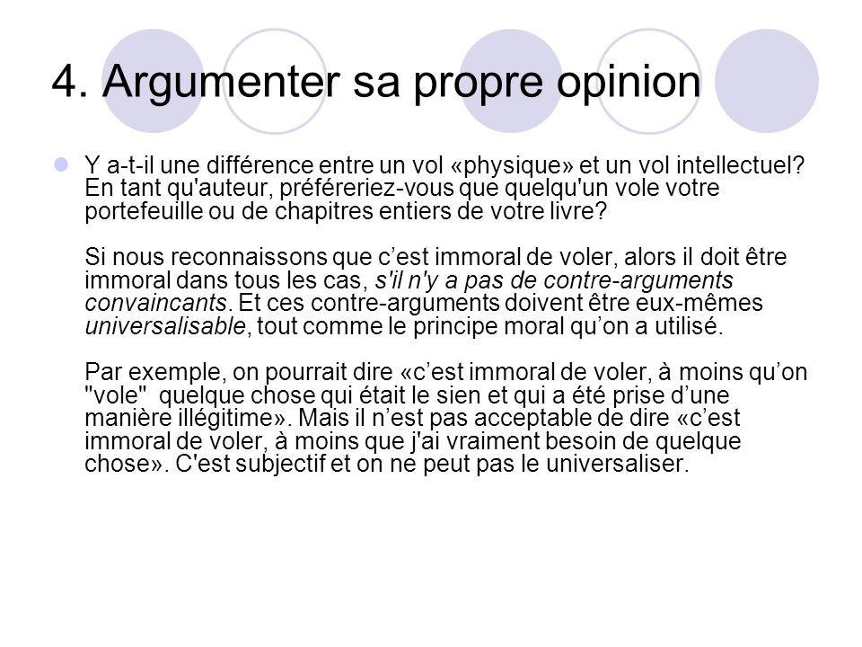 4. Argumenter sa propre opinion Y a-t-il une différence entre un vol «physique» et un vol intellectuel? En tant qu'auteur, préféreriez-vous que quelqu