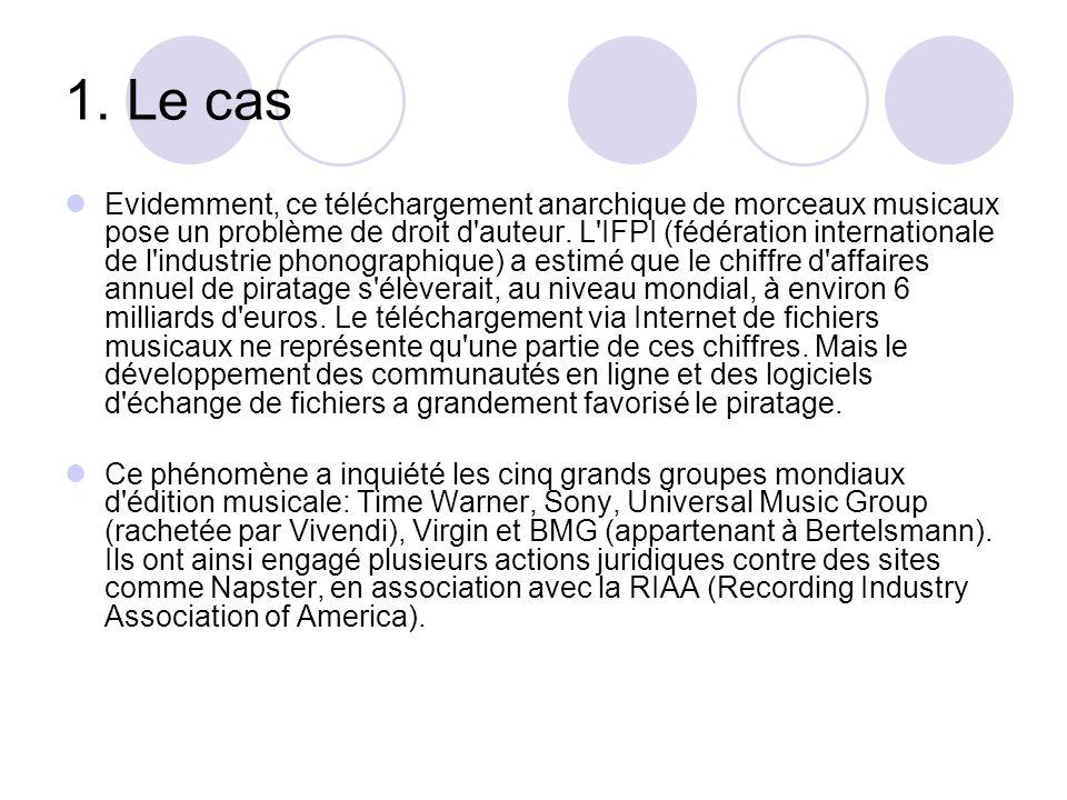 1. Le cas Evidemment, ce téléchargement anarchique de morceaux musicaux pose un problème de droit d'auteur. L'IFPI (fédération internationale de l'ind
