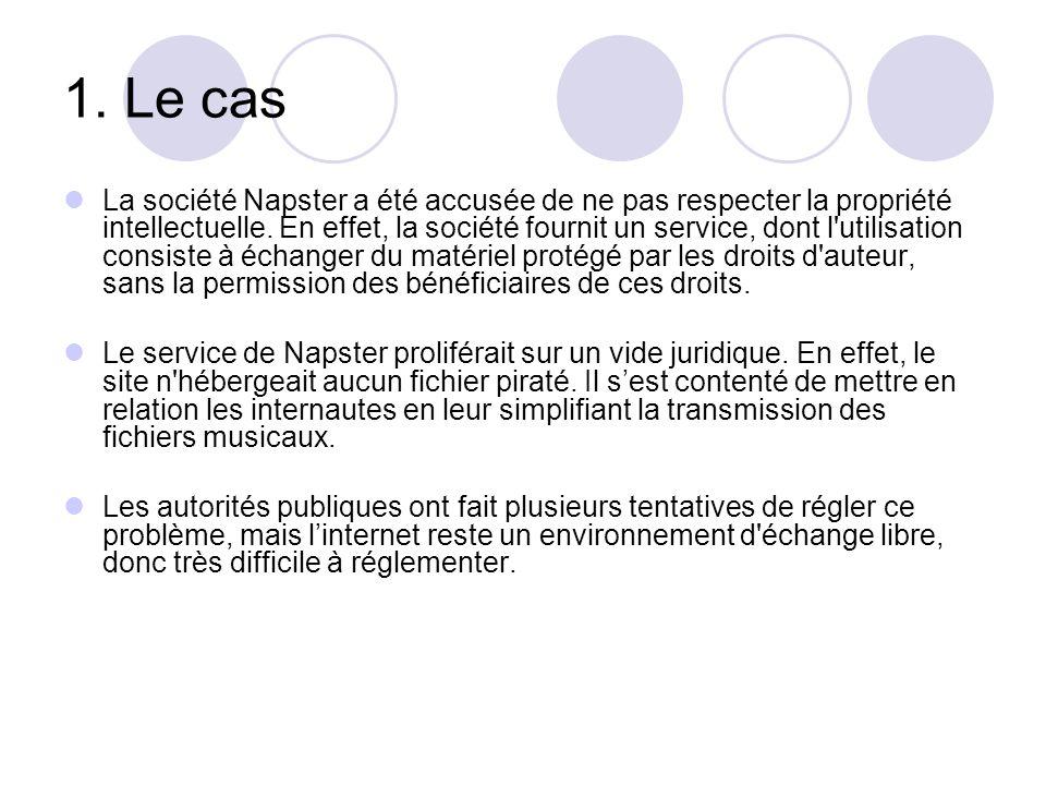 1. Le cas La société Napster a été accusée de ne pas respecter la propriété intellectuelle. En effet, la société fournit un service, dont l'utilisatio