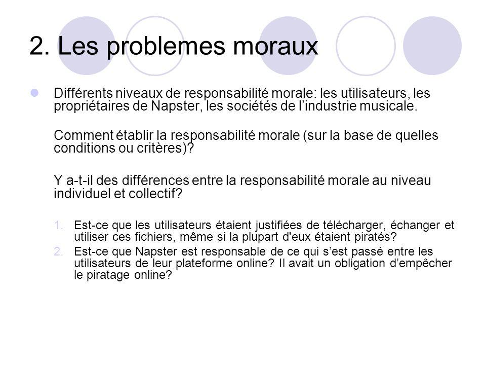 2. Les problemes moraux Différents niveaux de responsabilité morale: les utilisateurs, les propriétaires de Napster, les sociétés de lindustrie musica
