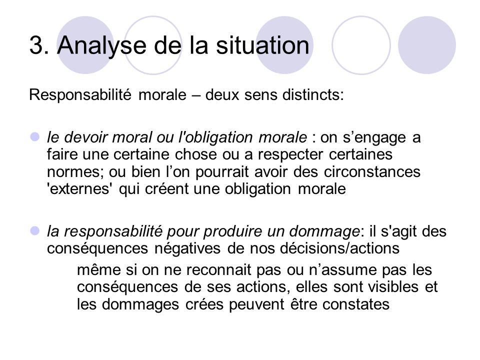 3. Analyse de la situation Responsabilité morale – deux sens distincts: le devoir moral ou l'obligation morale : on sengage a faire une certaine chose