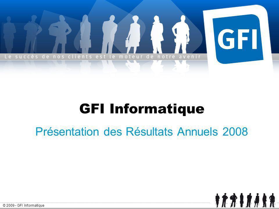 Page 2© 2009 - GFI Informatique Résultats annuels 2008 - GFI Informatique Sommaire Lannée 2008 Résultats financiers 2008 Lactivité début 2009 Objectifs 2009 Annexes Analyse du chiffre daffaires par client Lindustrialisation de GFI
