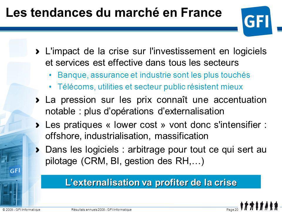 Page 20© 2009 - GFI Informatique Résultats annuels 2008 - GFI Informatique Les tendances du marché en France L'impact de la crise sur l'investissement