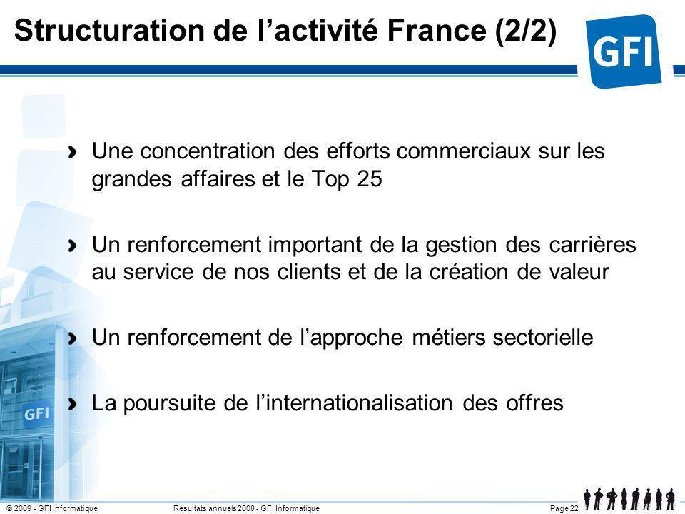 Page 22© 2009 - GFI Informatique Résultats annuels 2008 - GFI Informatique Structuration de lactivité France (2/2) Une concentration des efforts comme