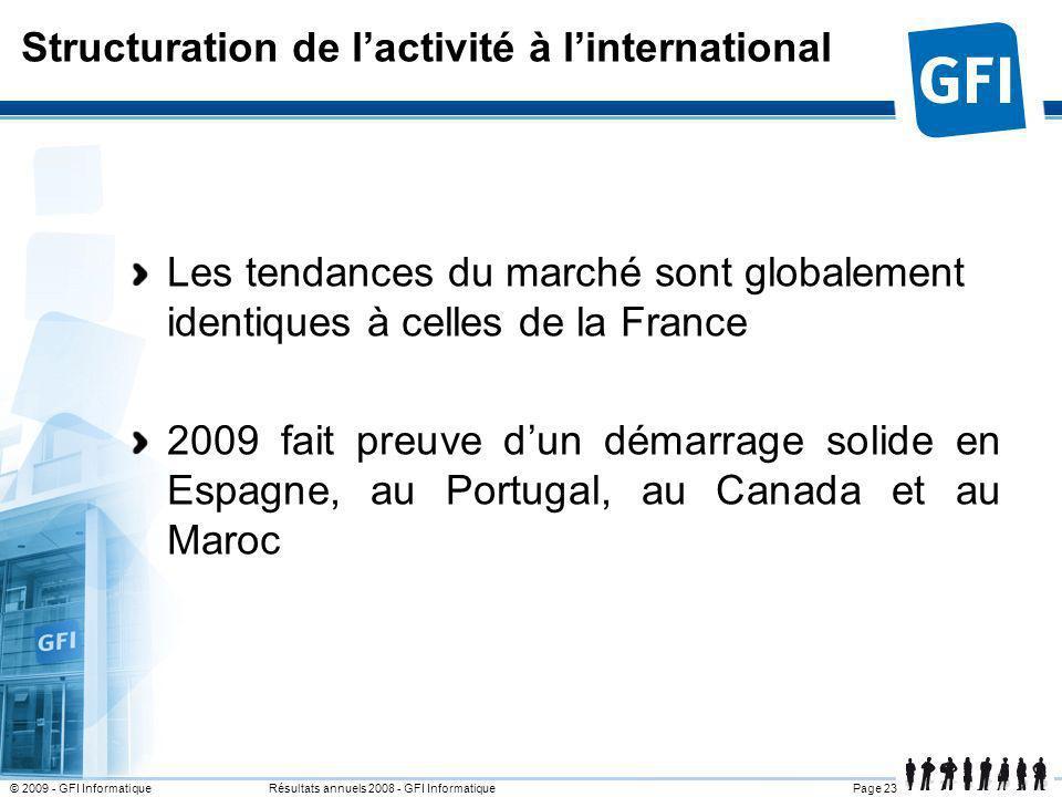 Page 23© 2009 - GFI Informatique Résultats annuels 2008 - GFI Informatique Structuration de lactivité à linternational Les tendances du marché sont gl