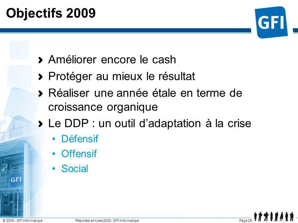 Page 25© 2009 - GFI Informatique Résultats annuels 2008 - GFI Informatique Objectifs 2009 Améliorer encore le cash Protéger au mieux le résultat Réali