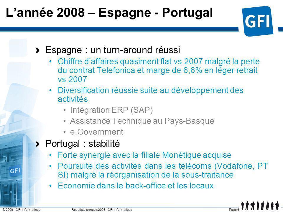Page 17© 2009 - GFI Informatique Résultats annuels 2008 - GFI Informatique France : impact de la crise ressenti en Q4 Espagne, Portugal : léger tassement (impact Telecom) Italie : marge en nette amélioration vs 2007(+2 M) Résultat 2008 Marges opérationnelles par zone géographique