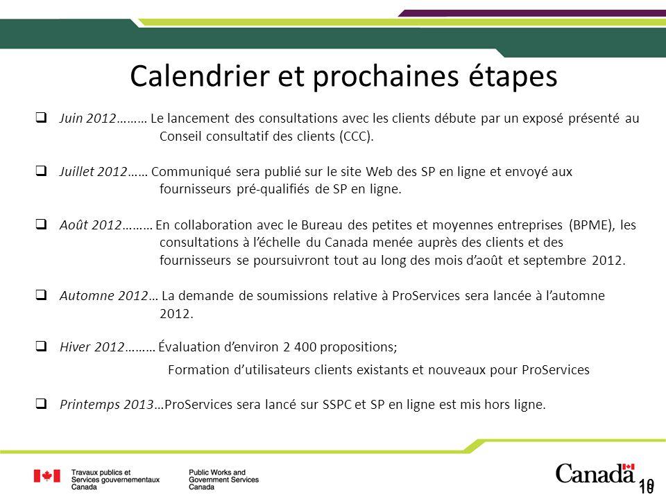 10 Calendrier et prochaines étapes Juin 2012……… Le lancement des consultations avec les clients débute par un exposé présenté au Conseil consultatif d