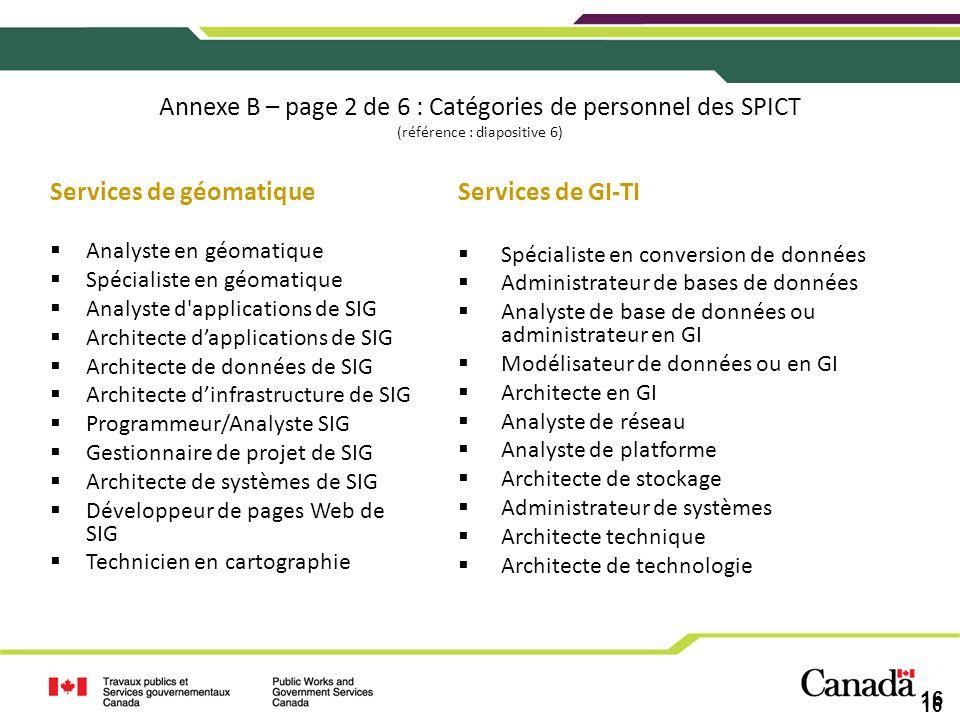 16 Annexe B – page 2 de 6 : Catégories de personnel des SPICT (référence : diapositive 6) Services de géomatique Analyste en géomatique Spécialiste en