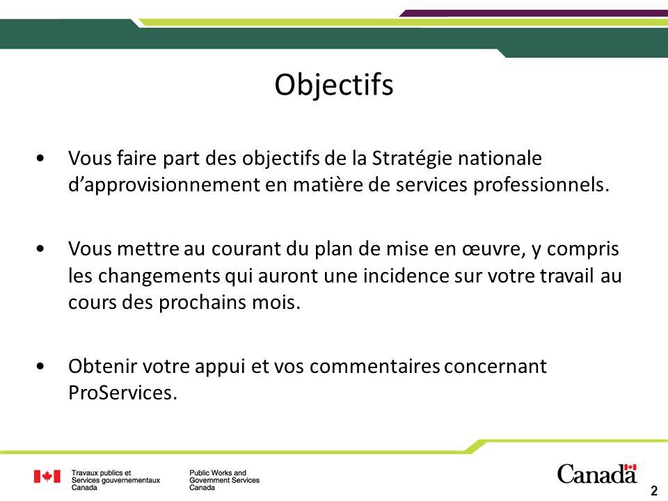 Objectifs 2 Vous faire part des objectifs de la Stratégie nationale dapprovisionnement en matière de services professionnels. Vous mettre au courant d