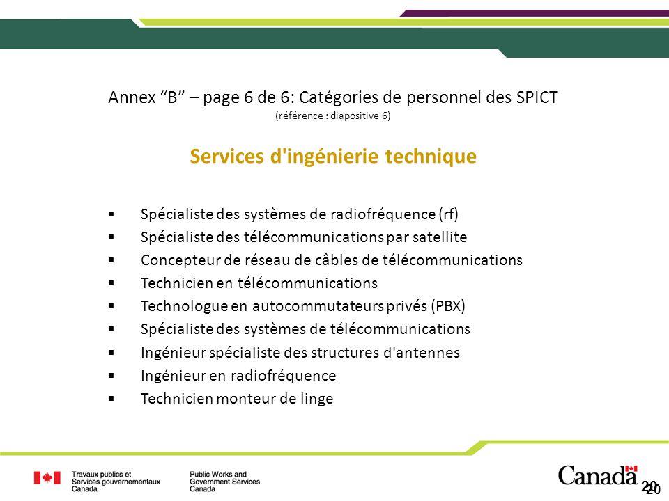 20 Annex B – page 6 de 6: Catégories de personnel des SPICT (référence : diapositive 6) Services d'ingénierie technique Spécialiste des systèmes de ra