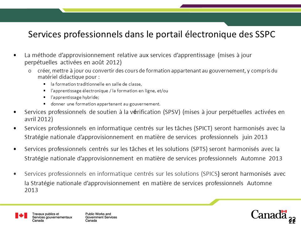22 Services professionnels dans le portail électronique des SSPC La méthode dapprovisionnement relative aux services dapprentissage (mises à jour perp