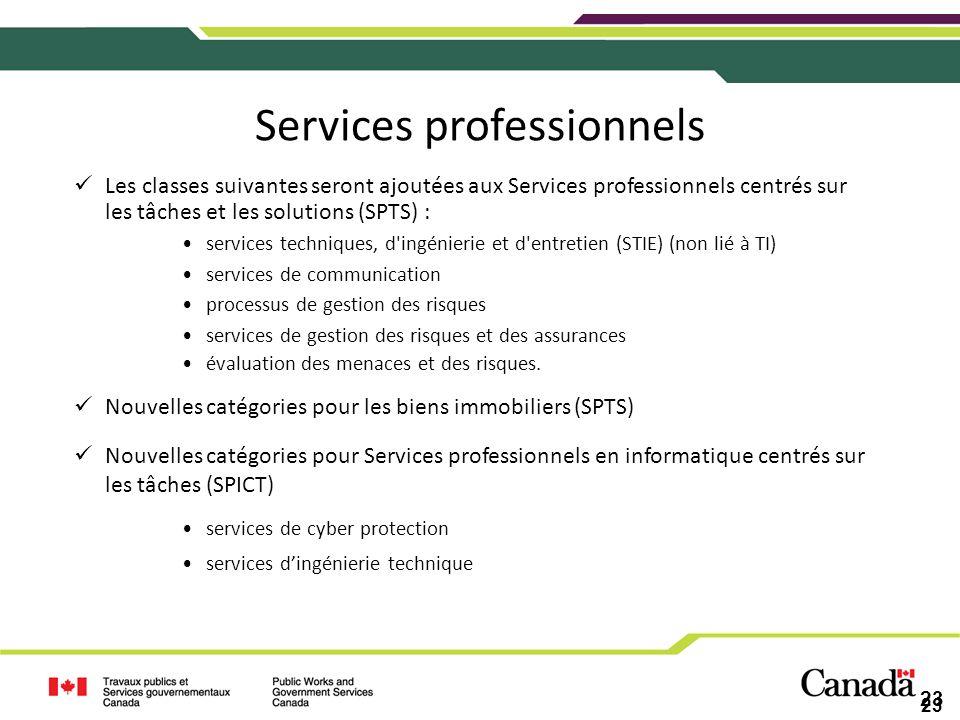 23 Services professionnels Les classes suivantes seront ajoutées aux Services professionnels centrés sur les tâches et les solutions (SPTS) : services