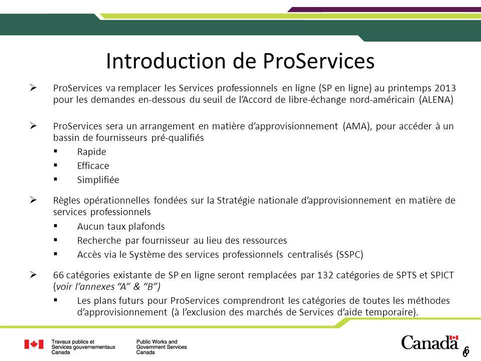6 Introduction de ProServices ProServices va remplacer les Services professionnels en ligne (SP en ligne) au printemps 2013 pour les demandes en-desso