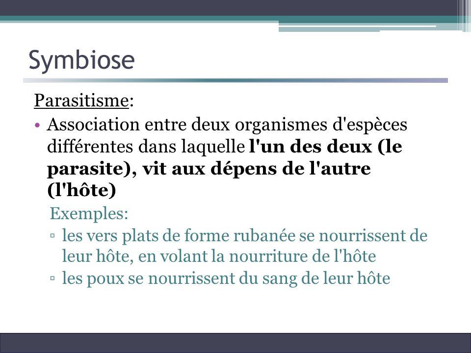 Symbiose Parasitisme: Association entre deux organismes d'espèces différentes dans laquelle l'un des deux (le parasite), vit aux dépens de l'autre (l'