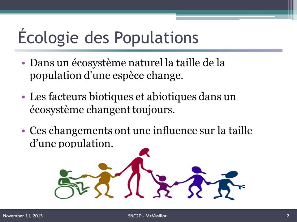 Écologie des Populations Dans un écosystème naturel la taille de la population d une espèce change.