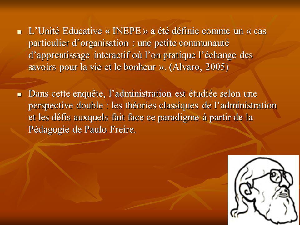 LUnité Educative « INEPE » a été définie comme un « cas particulier dorganisation : une petite communauté dapprentissage interactif où lon pratique lé