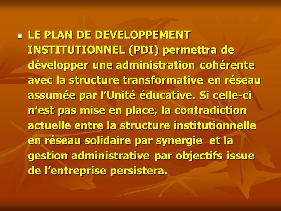 LE PLAN DE DEVELOPPEMENT INSTITUTIONNEL (PDI) permettra de développer une administration cohérente avec la structure transformative en réseau assumée