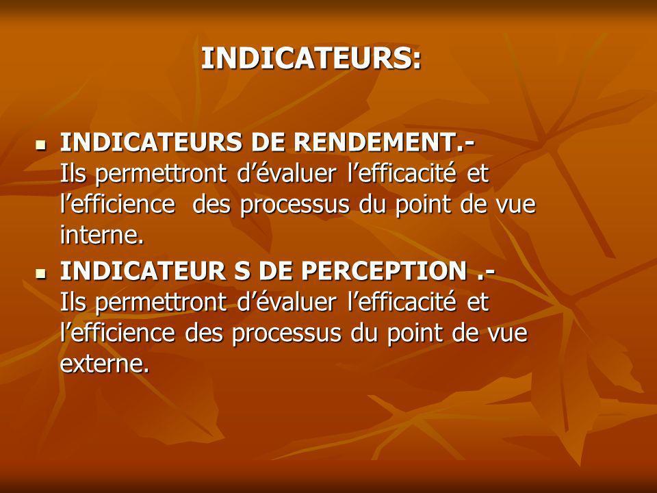 INDICATEURS: INDICATEURS DE RENDEMENT.- Ils permettront dévaluer lefficacité et lefficience des processus du point de vue interne. INDICATEURS DE REND