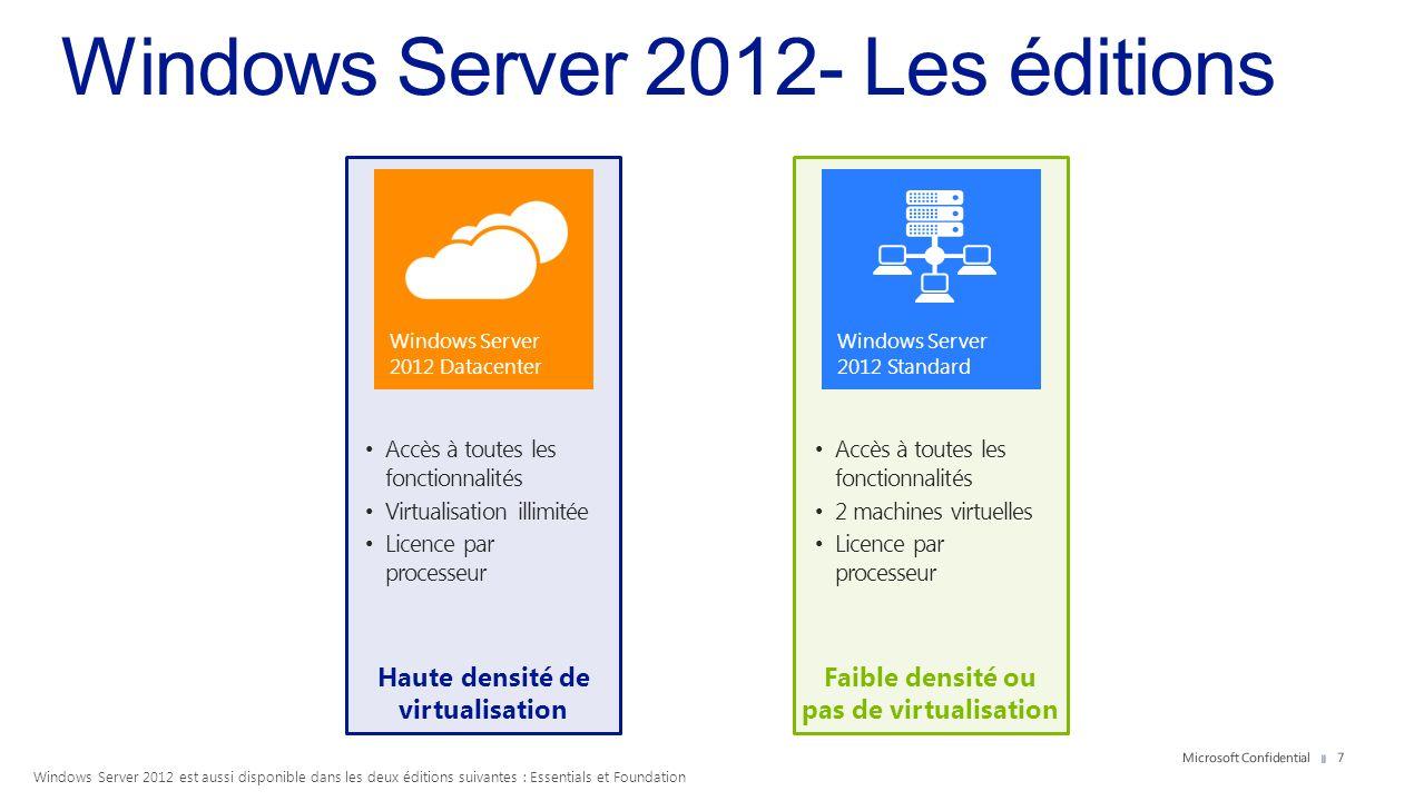 Windows Server 2012 est aussi disponible dans les deux éditions suivantes : Essentials et Foundation 7 Haute densité de virtualisation Faible densité
