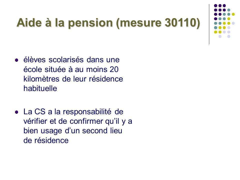 Aide à la pension (mesure 30110) élèves scolarisés dans une école située à au moins 20 kilomètres de leur résidence habituelle La CS a la responsabili