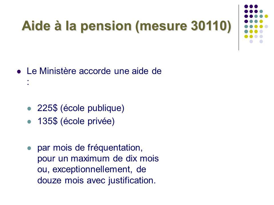Aide à la pension (mesure 30110) Le Ministère accorde une aide de : 225$ (école publique) 135$ (école privée) par mois de fréquentation, pour un maxim