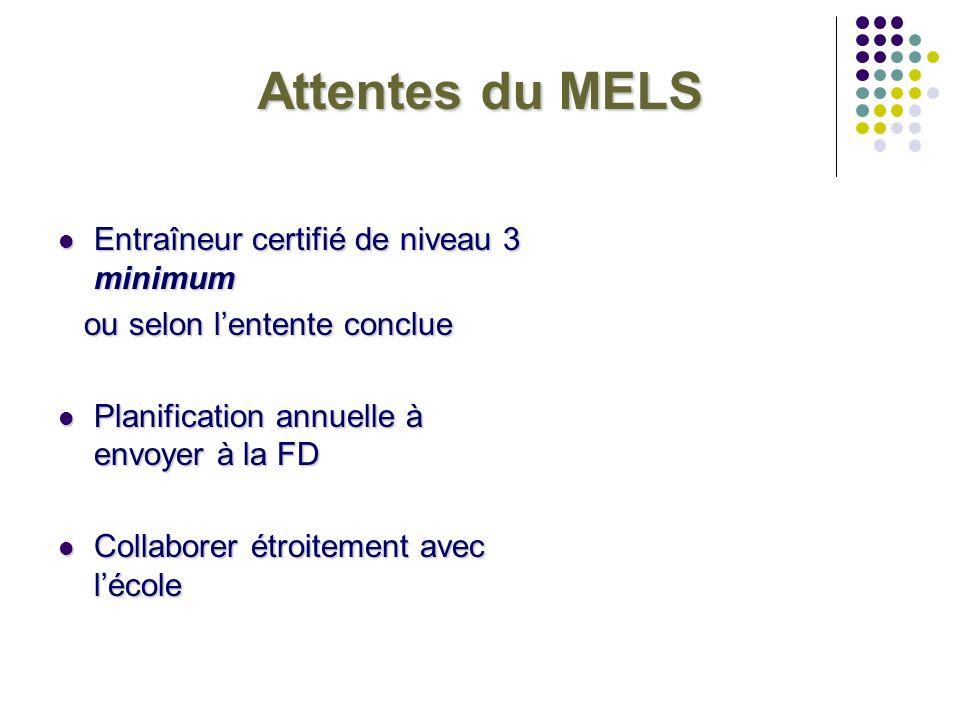Attentes du MELS Entraîneur certifié de niveau 3 minimum Entraîneur certifié de niveau 3 minimum ou selon lentente conclue ou selon lentente conclue P