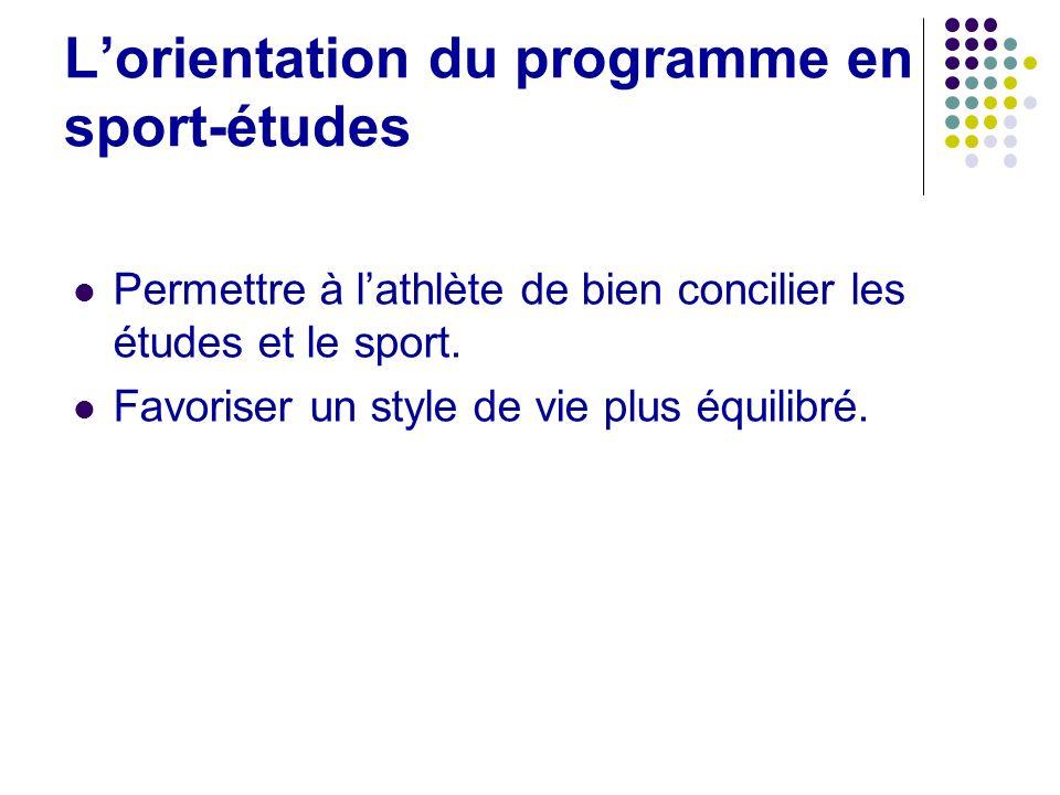 Lorientation du programme en sport-études Permettre à lathlète de bien concilier les études et le sport. Favoriser un style de vie plus équilibré.