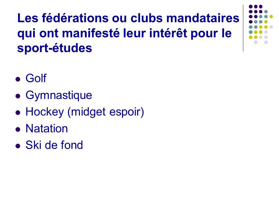 Les fédérations ou clubs mandataires qui ont manifesté leur intérêt pour le sport-études Golf Gymnastique Hockey (midget espoir) Natation Ski de fond