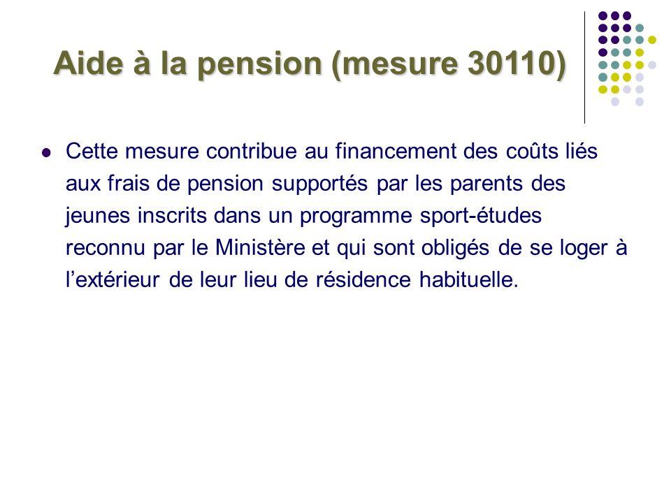 Aide à la pension (mesure 30110) Cette mesure contribue au financement des coûts liés aux frais de pension supportés par les parents des jeunes inscri