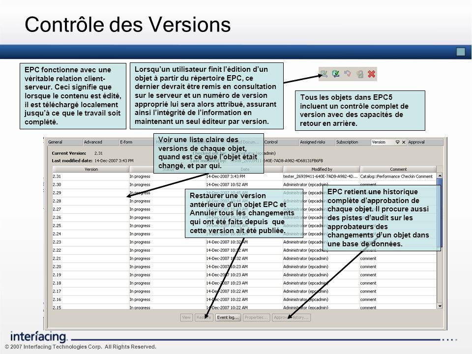 © 2007 Interfacing Technologies Corp. All Rights Reserved. Contrôle des Versions Tous les objets dans EPC5 incluent un contrôle complet de version ave