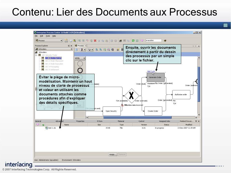 © 2007 Interfacing Technologies Corp. All Rights Reserved. Contenu: Lier des Documents aux Processus Éviter le piège de micro- modélisation. Maintenir