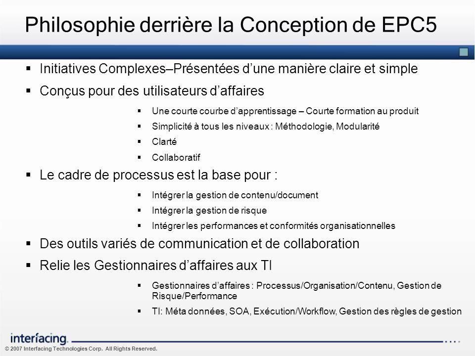 © 2007 Interfacing Technologies Corp. All Rights Reserved. Philosophie derrière la Conception de EPC5 Initiatives Complexes–Présentées dune manière cl