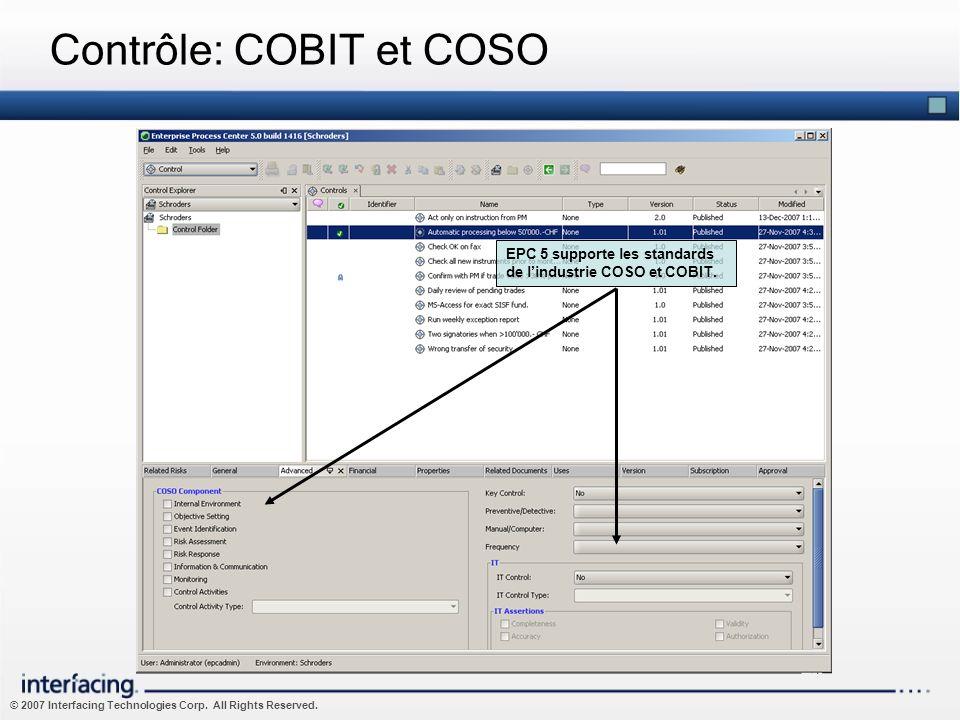 © 2007 Interfacing Technologies Corp. All Rights Reserved. Contrôle: COBIT et COSO EPC 5 supporte les standards de lindustrie COSO et COBIT.